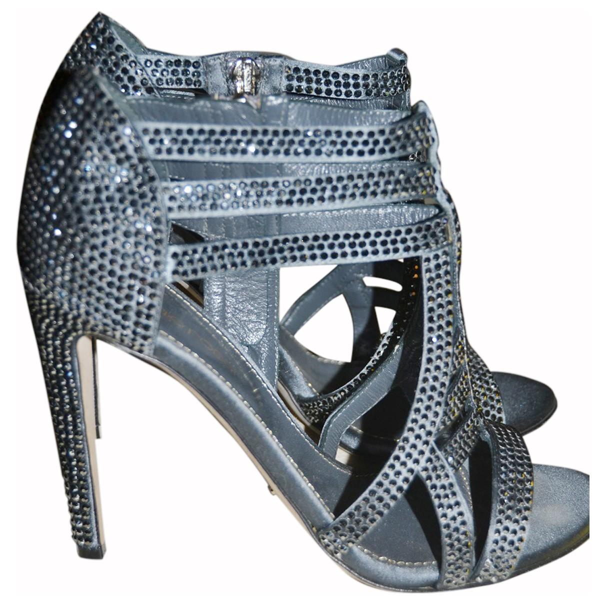 Sergio Rossi N Black Cloth Sandals for Women 36.5 IT