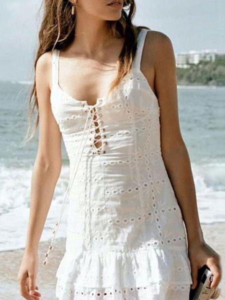 Milanoo Vestido blanco de verano Vestido de playa sin espalda con cordones bordados con ojales