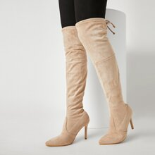 Tie Back Stiletto Over The Knee Boots