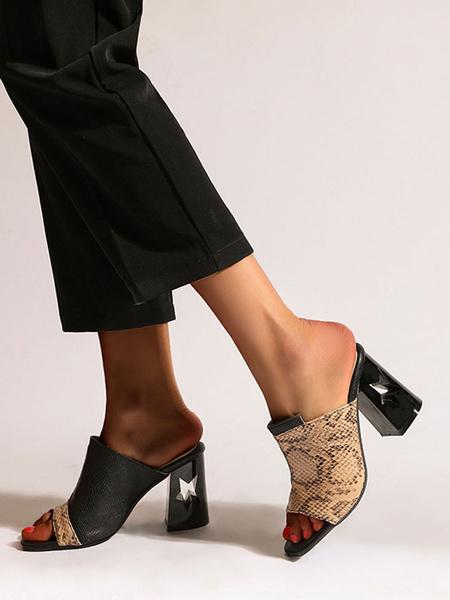 Milanoo Womens Chunky Heel sandals Snake Print Open Toe ColorBlock Plus Size Block Heel Shoes