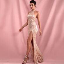 Halter Backless Split Thigh Sequin Prom Dress