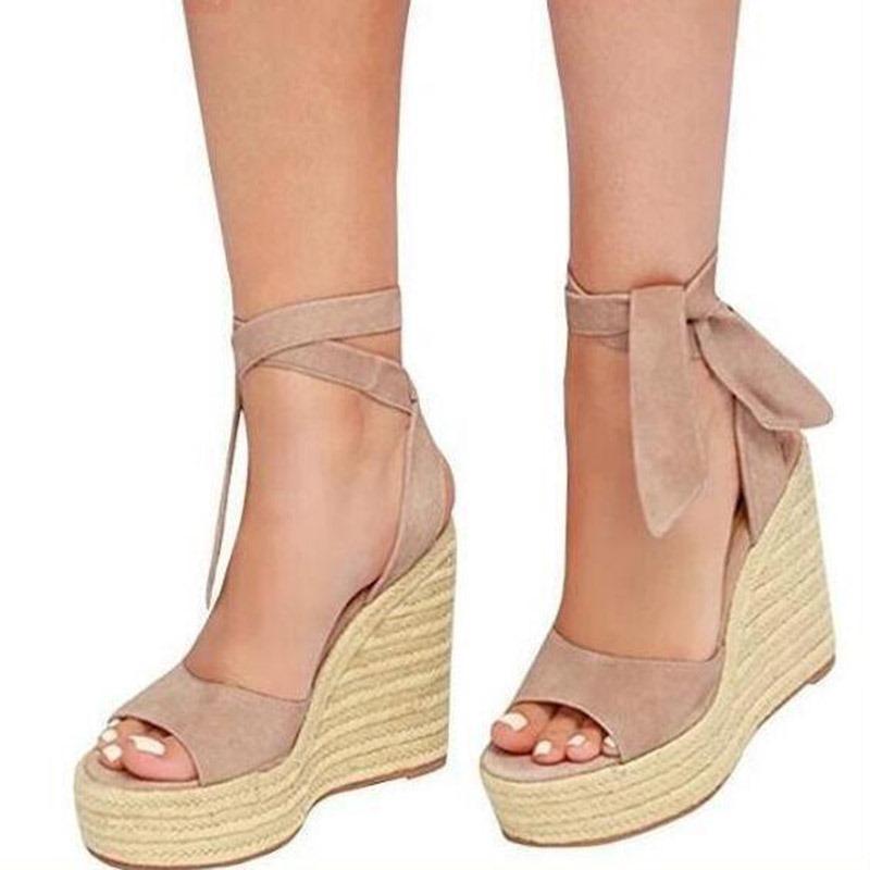 Ericdress Faux Suede Lace-Up Open Toe Wedge Heel Women's Sandals