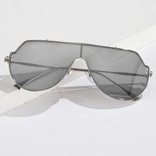 Men Flat Top Shield Sunglasses
