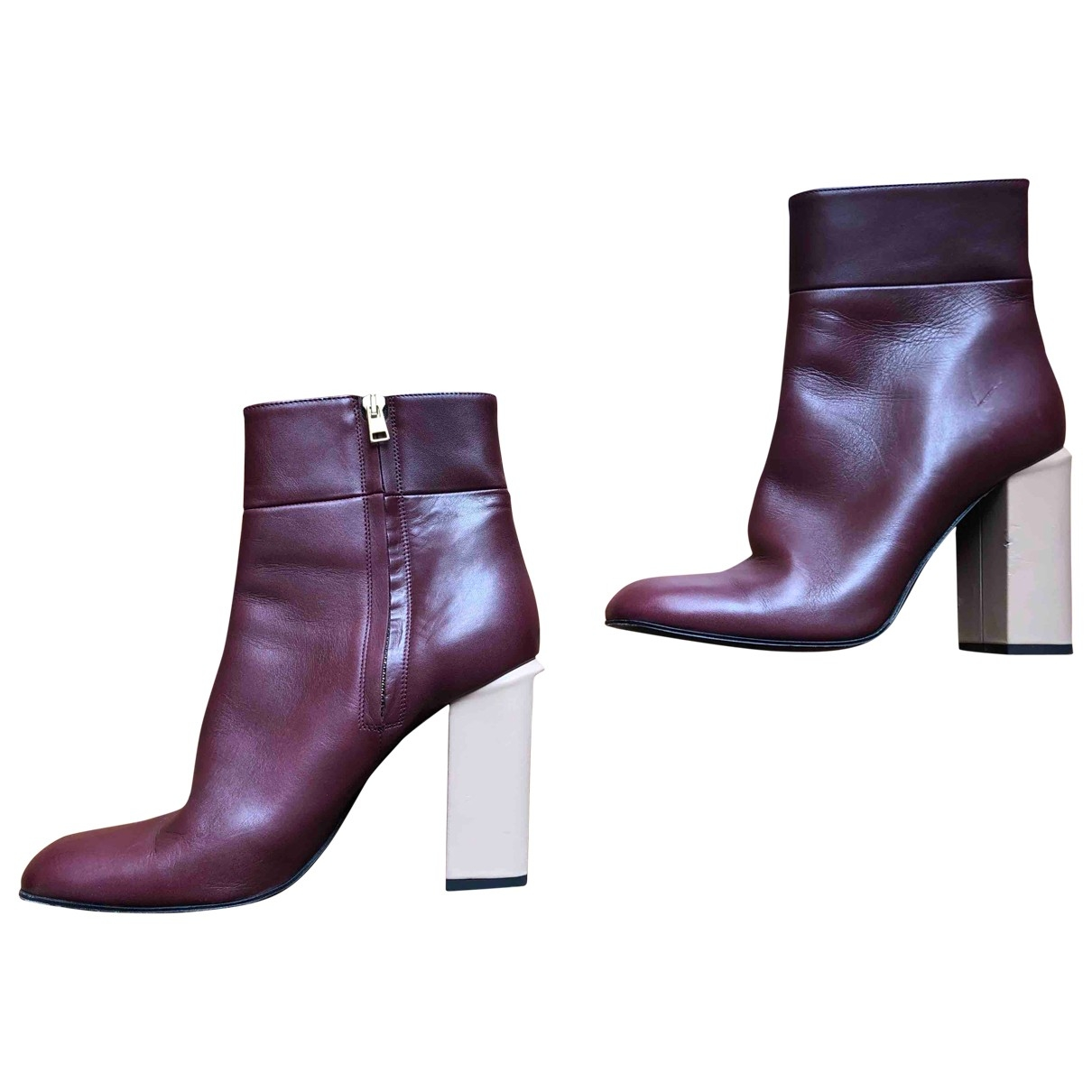 Marni \N Burgundy Leather Ankle boots for Women 40 EU