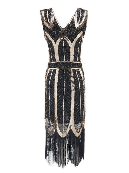 Milanoo 1920s Flapper Dress V Neck Sequined Women Great Gatsby Costume Vintage Costumes