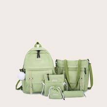 5 Stuecke Rucksack Set mit Taschen vorn