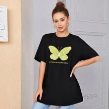 Butterfly and Slogan Graphic Drop Shoulder Oversized Top