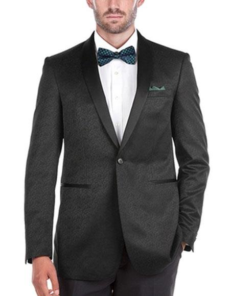 Mens SlimFit Tuxedo 1Button Shawl Collar SideVents Black Jacket