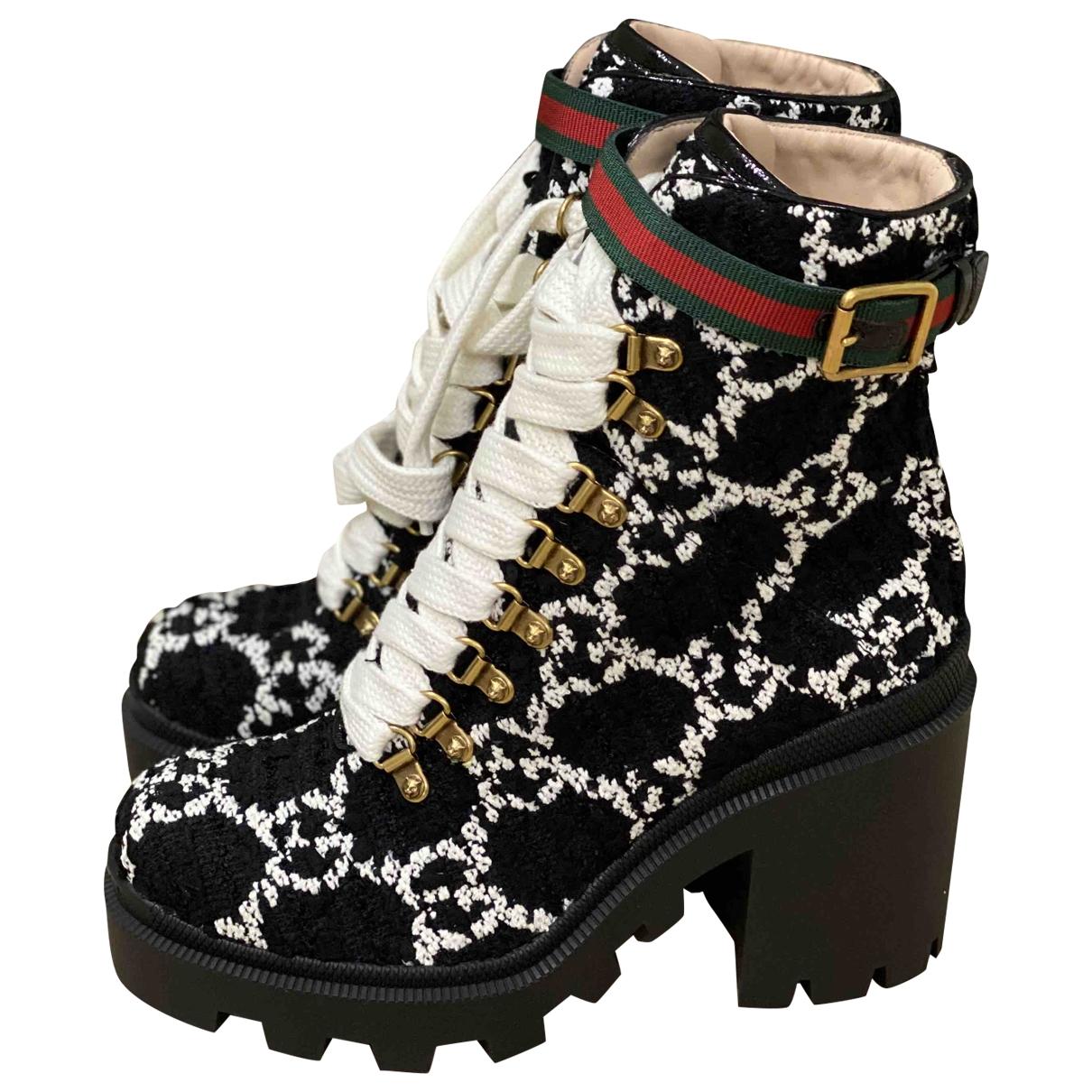 Gucci - Boots Sylvie pour femme en tweed - noir