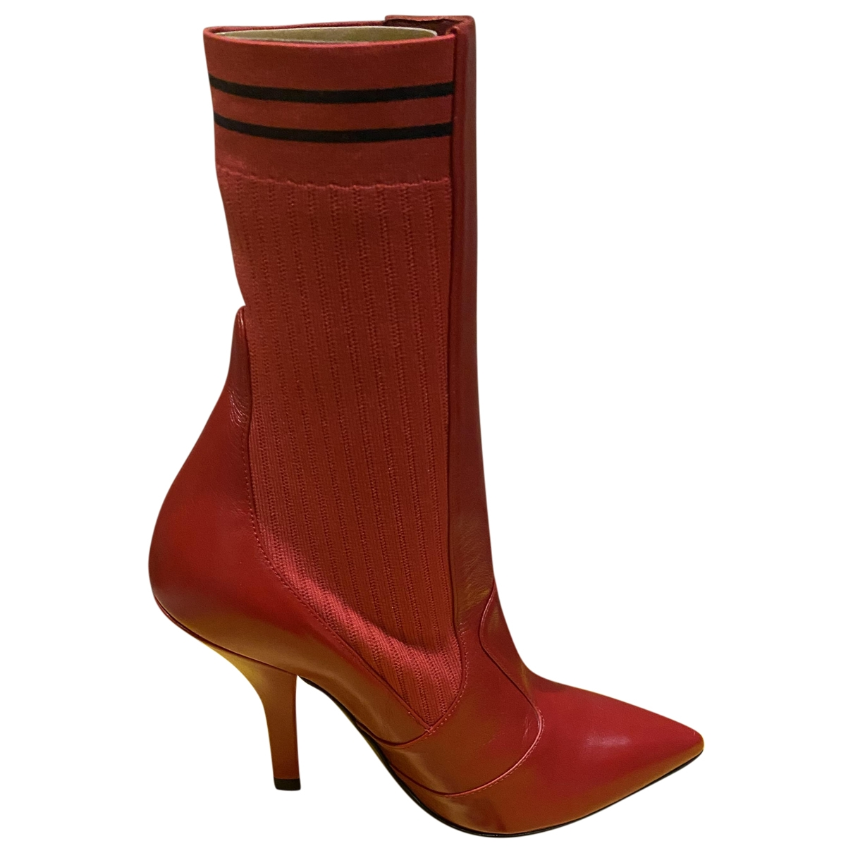 Fendi \N Red Leather Boots for Women 35 EU