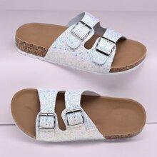 Doppel Schnalled Glitter Band Fussbett Slide Sandalen