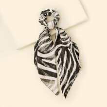 Zebra Striped Scarf Scrunchie