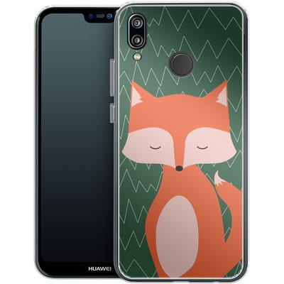 Huawei P20 Lite Silikon Handyhuelle - Fox on Green von caseable Designs
