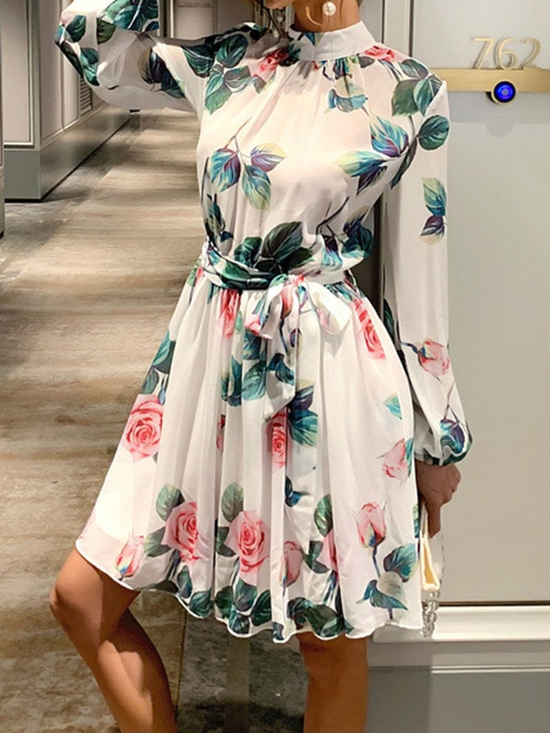 Ericdress Above Knee Stand Collar Lace-Up Mid Waist Spring Dress