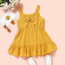 Toddler Girls Solid Bow Back Frill Trim Dress