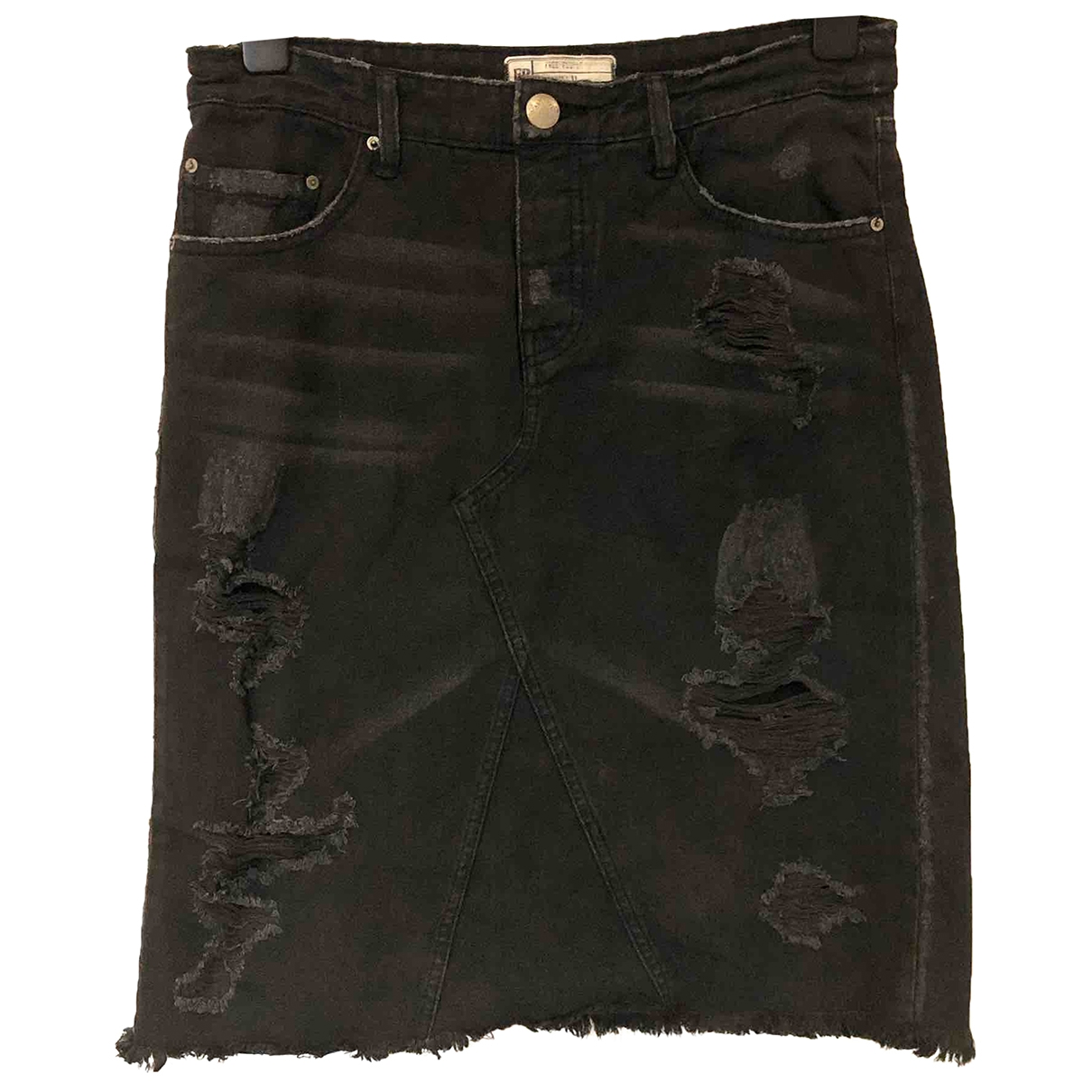 Free People \N Black Denim - Jeans skirt for Women XL International