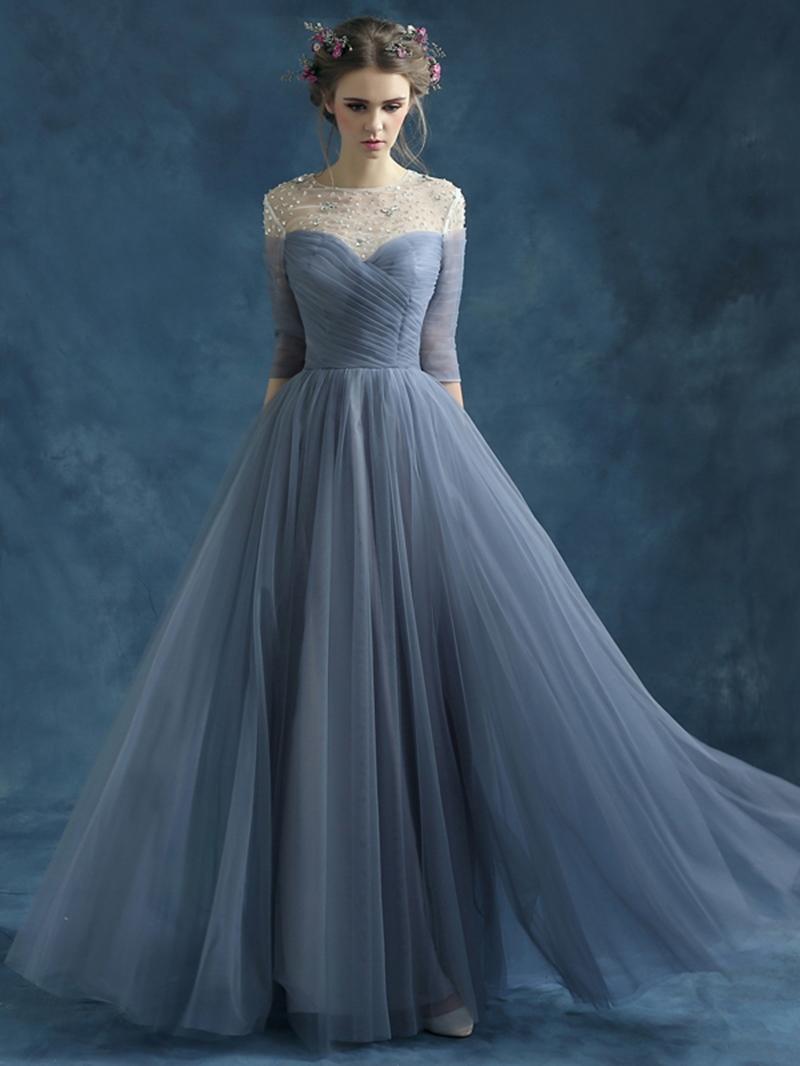 Ericdress Pleats Beading Half Sleeves Prom Dress
