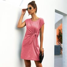 Marled Knot Front Tee Dress