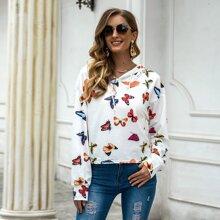 Allover Butterfly Print Drawstring Hooded Sports Sweatshirt
