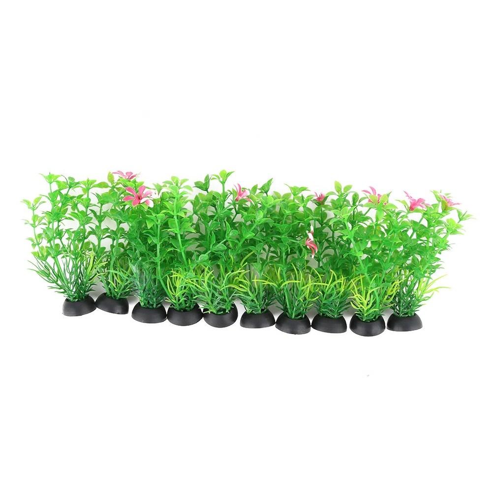 Aquarium Plastic Artificial Underwater Plant Grass Orament 10cm Height 10 Pcs - White,Black,Green,Pink (White,Black,Green,Pink)