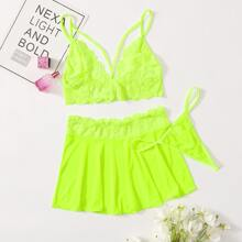 Neon Lime Lace Thong Lingerie Set With Pleated Skirt