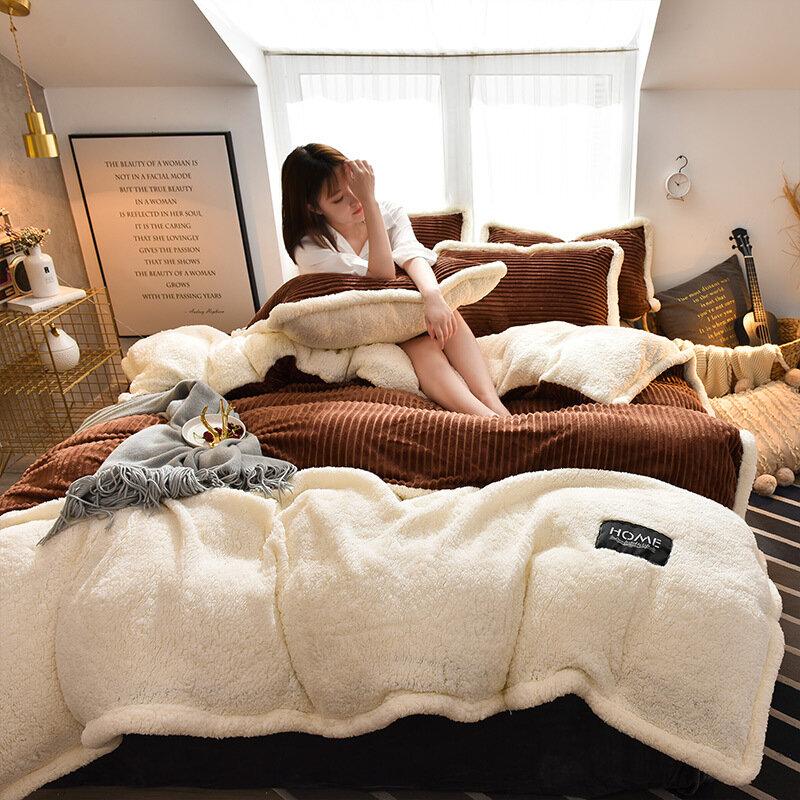 4Pcs AB Sided Winter Thicken Corduroy Fleece Bedding Set Duvet Cover Sheet Pillowcase King Size
