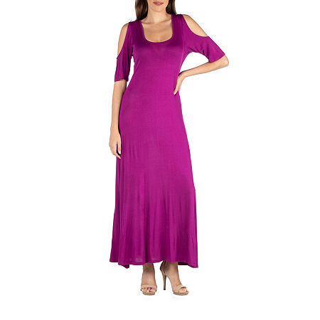 24/7 Comfort Apparel Half Sleeve Open Shoulder Maxi Dress, Small , Pink