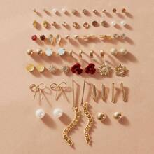 30pairs Faux Pearl & Flower Ohrstecker