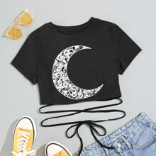 Moon Print Lace-up Crop Tee