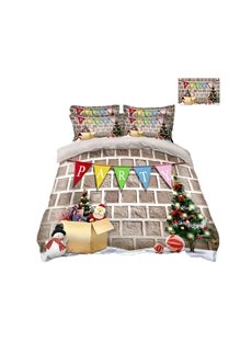 Christmas Presents and Santa Claus Printing 4-Piece 3D Bedding Sets/Duvet Covers