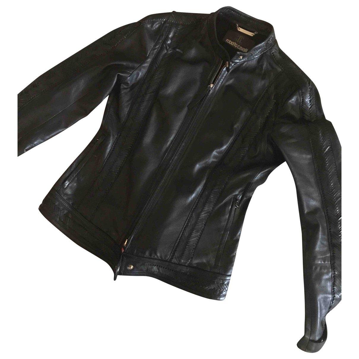 Roberto Cavalli \N Black Leather jacket for Women 40 FR