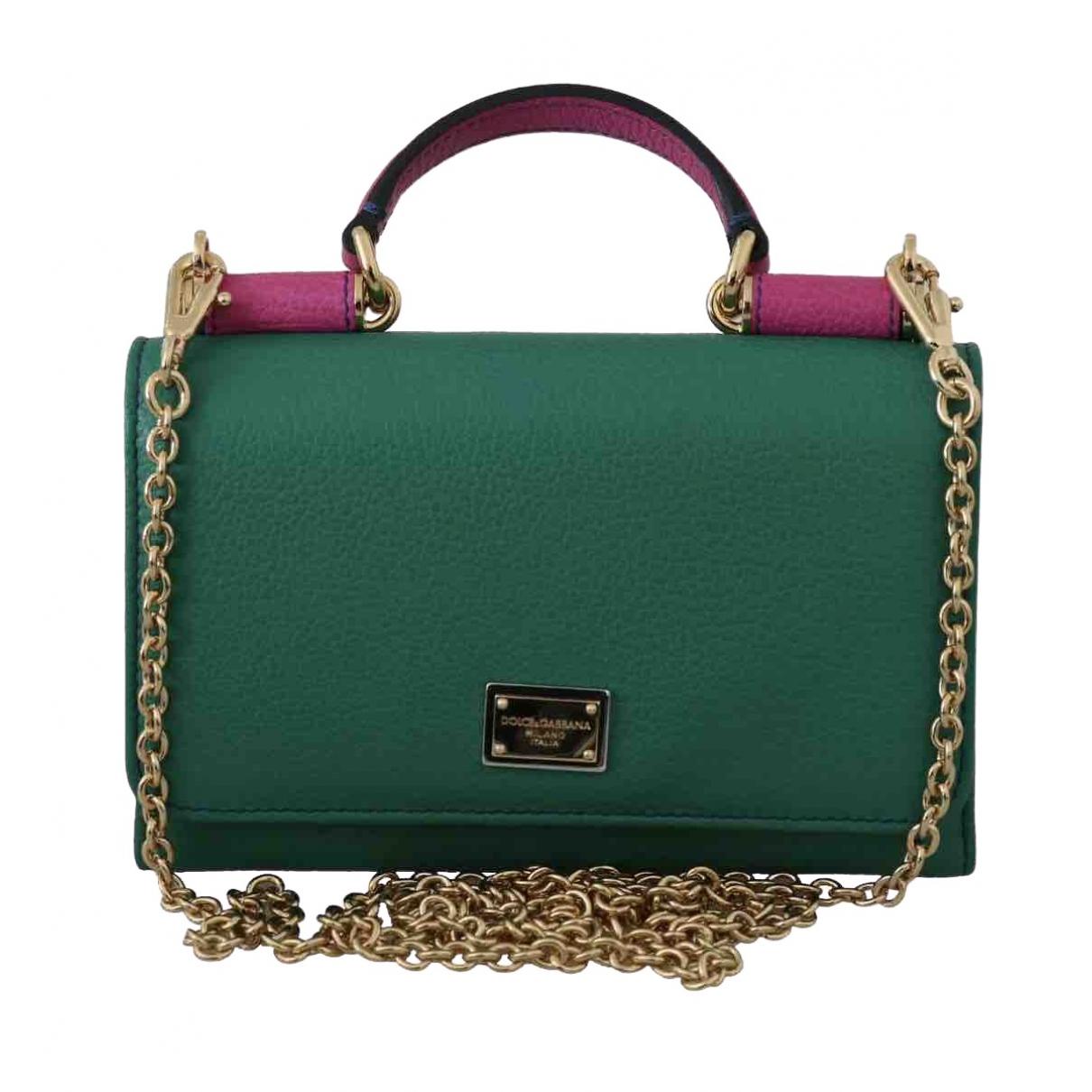 Dolce & Gabbana - Pochette Sicily pour femme en cuir - vert