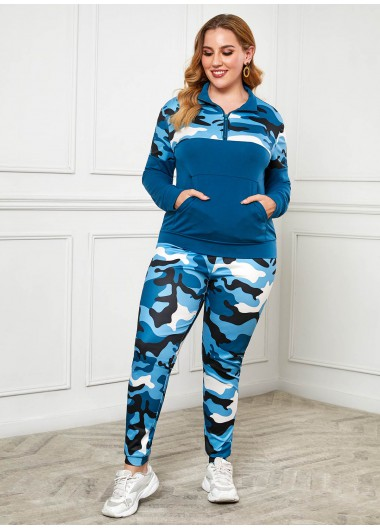 Rosewe Women Cyan Camouflage Printed Plus Size Tracksuit Quarter Zip Long Sleeve Skinny Sweatshirt Green Sports Suit - L