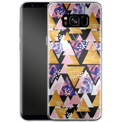Samsung Galaxy S8 Silikon Handyhuelle - Blush Geo Black von Mukta Lata Barua