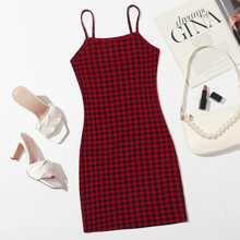 Plaid Print Pencil Dress