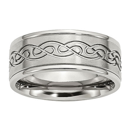 Personalized Mens 9mm Stainless Steel Wedding Band, 10 , No Color Family