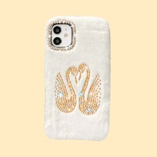 Rhinestone Swan Fluffy iPhone Case