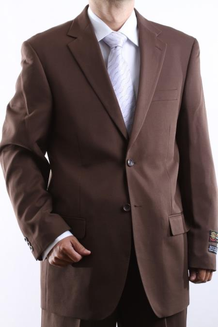 Mens Two Button Superior 100 Cocoa Dress Suit Side Vent Pleated Pants