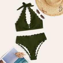 Gerippter Bikini mit Bogenkante, Neckholder und hoher Taille