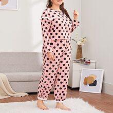 Plus Polka Dot Schiffy Trim Pajama Set