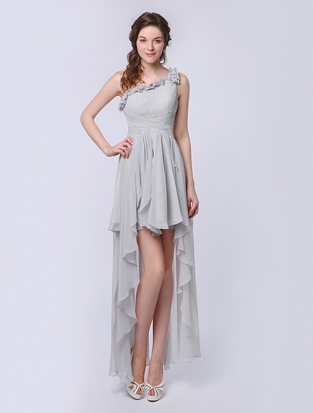 Milanoo Chiffon Bridesmaid Dress With Ruffled One-Shoulder