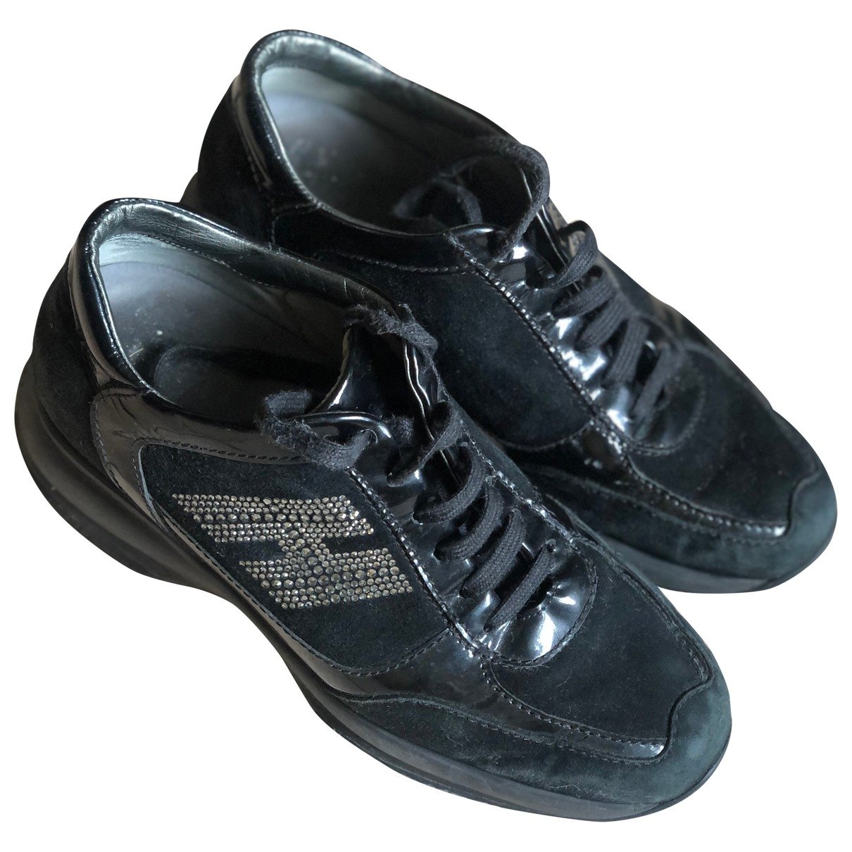 Hogan - Baskets   pour femme en velours - noir