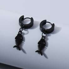 Men Fish Bone Charm Drop Earrings