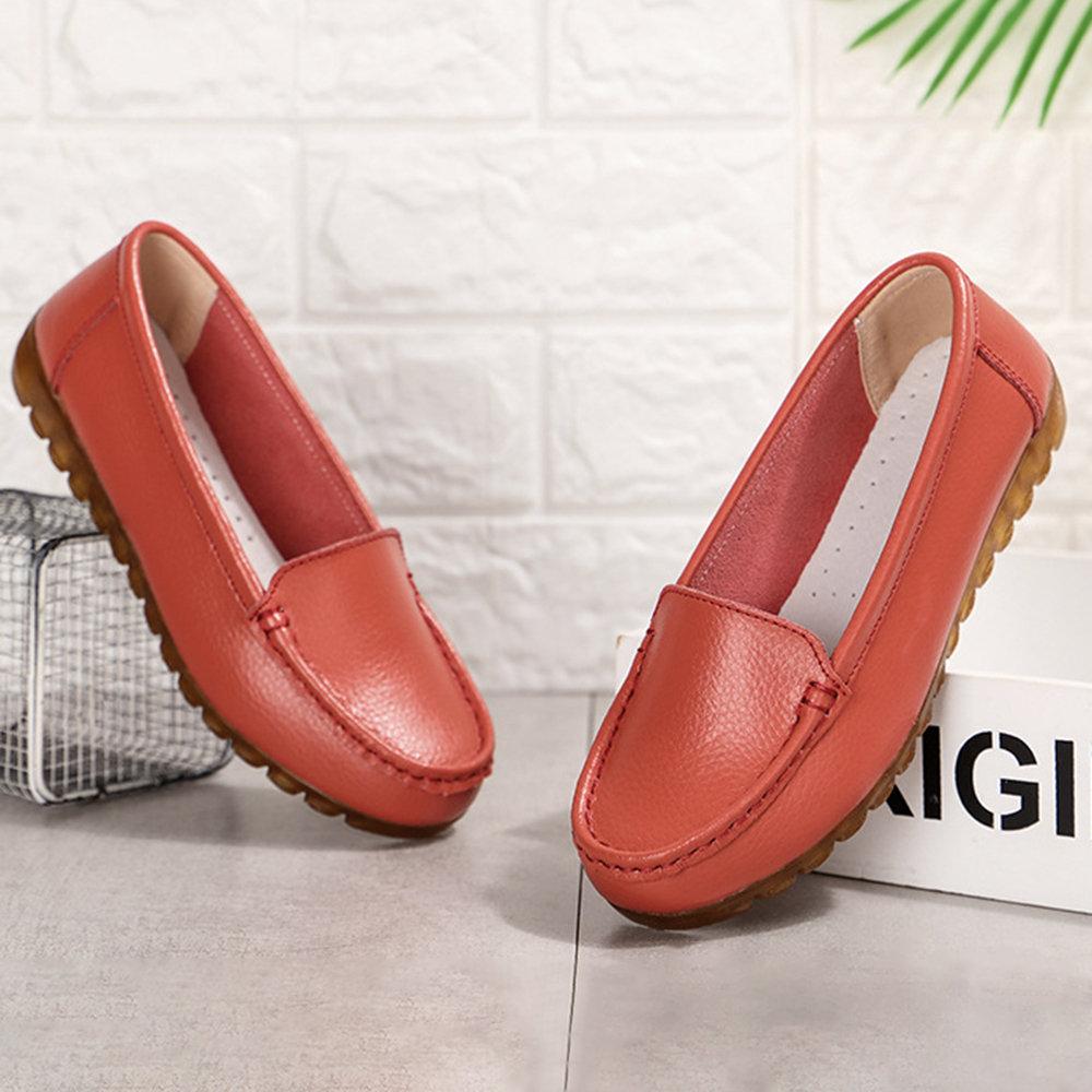 Women Comfy Genuine Leather Slip Resistance Flats SHoes