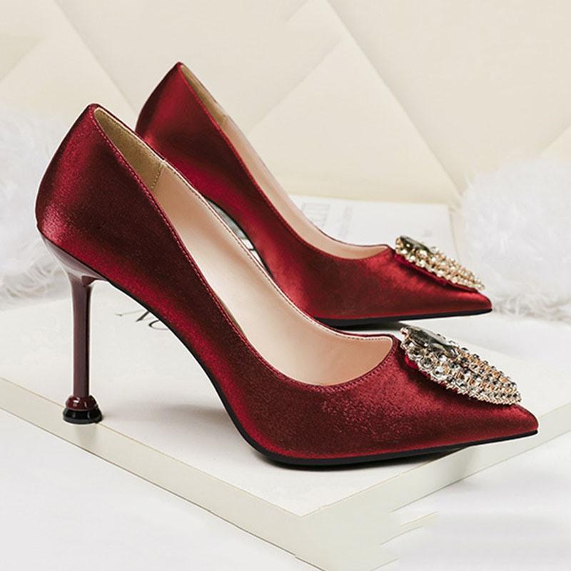 Ericdress Pointed Toe Stiletto Heel Rhinestone Banquet Fashion Pumps