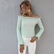 Off Shoulder Frill Trim Tee