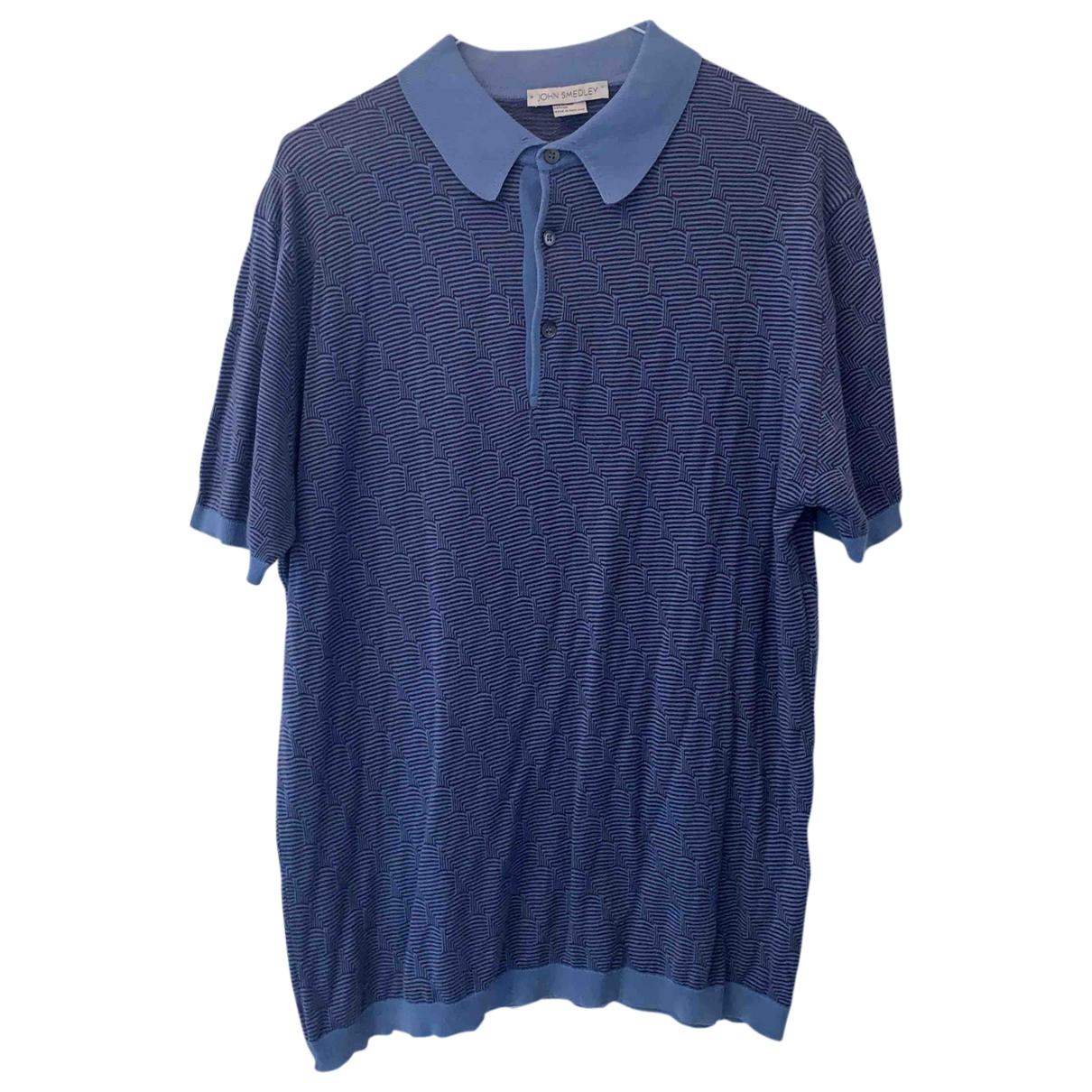 John Smedley - Polos   pour homme en coton - bleu