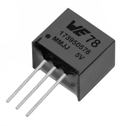 Wurth Elektronik , 3.3 V Linear Voltage Regulator, 1A, 1-Channel, ±2% 3-Pin, SIP 173010342 (42)