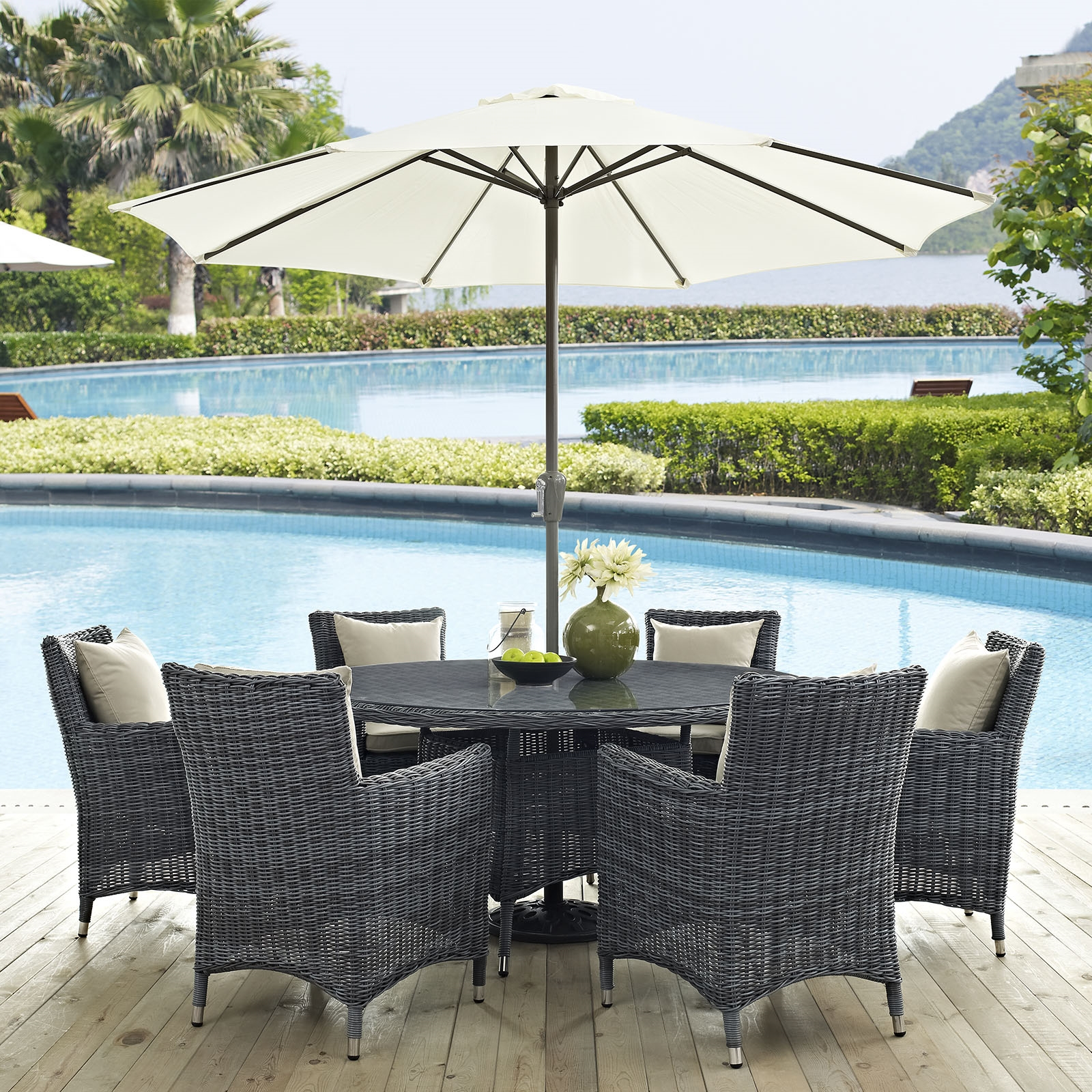 Summon 8 Piece Outdoor Patio Sunbrella® Dining Set in Antique Canvas Beige