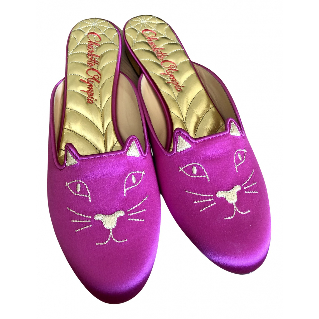 Charlotte Olympia \N Clogs in  Rosa Leinen